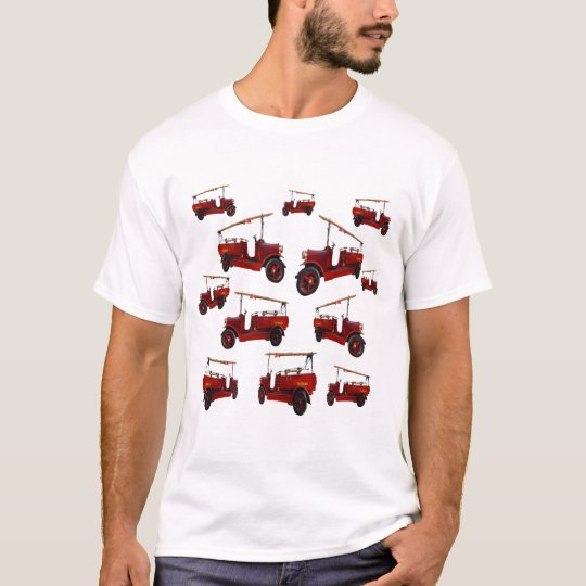 Red Vintage Fire Truck Pattern, T-Shirt