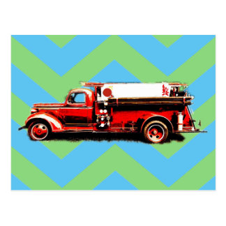 Red Vintage Fire Truck Postcard