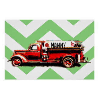 Red Vintage Fire Truck Poster