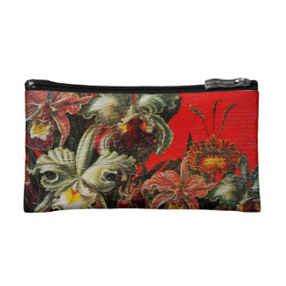 Red Vintage Flowers Oil Brush Painting Makeup Bags