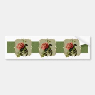 Red Vintage Flowers Wide Bumper Sticker