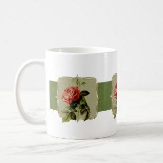 Red Vintage Flowers Wide Coffee Mug