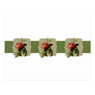 Red Vintage Flowers Wide Postcard