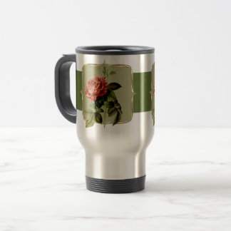 Red Vintage Flowers Wide Travel Mug