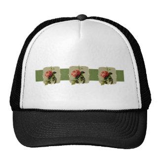 Red Vintage Flowers Wide Trucker Hat