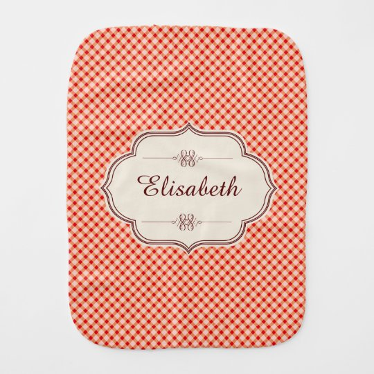 Red vintage gingham calligraphy name baby girl burp cloth