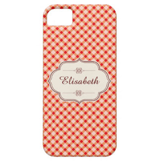 Red vintage gingham calligraphy name iPhone 5 covers