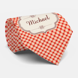 Red vintage gingham calligraphy name woman's tie