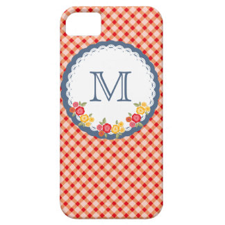 Red vintage gingham flower monogram iPhone 5 cover