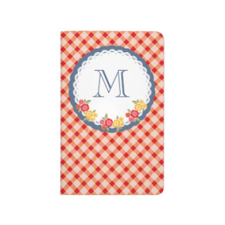 Red vintage gingham flower monogram journals
