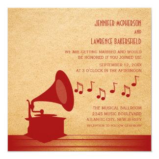 Red Vintage Gramophone Wedding Invite