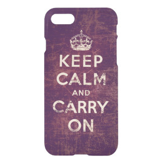 Red vintage keep calm and carry on iPhone 7 case