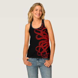 Red Vintage Octopus Tentacles Illustration Tank Top