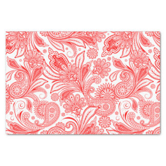 Red Vintage Paisley Pattern Tissue Paper