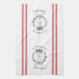 Red Vintage Style French Sack with Custom Name Kitchen Towel