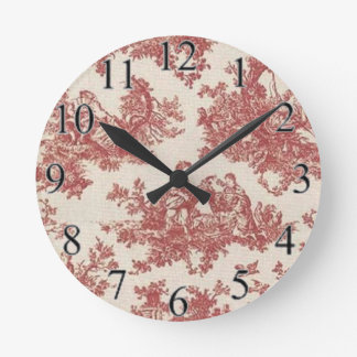 Red Vintage Toile Round Clock