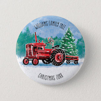 Red Vintage Tractor Christmas Tree Add Name 2 Inch Round Button