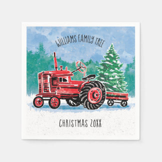Red Vintage Tractor Christmas Tree Add Name Disposable Napkin