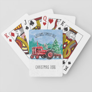 Red Vintage Tractor Christmas Tree Add Name Playing Cards