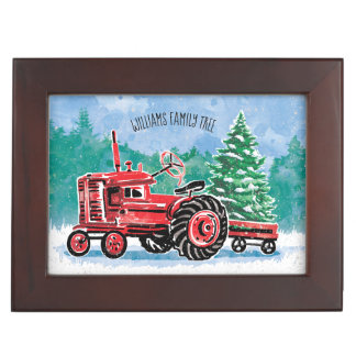 Red Vintage Tractor Christmas Tree Add Photo Keepsake Box