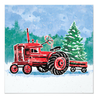 Red Vintage Tractor Christmas Tree Save the Date Card