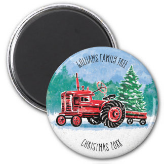 Red VintageTractor Christmas Tree Add Name Magnet