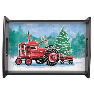 Red VintageTractor Christmas Tree Add Name Serving Tray