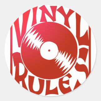 Red Vinyl Rules, ok? Round Sticker