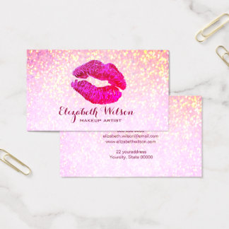 red-violet lipstick kiss on faux glitter business card