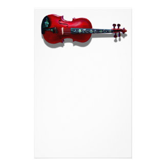 RED VIOLIN ON WHITE -STATIONERY PERSONALIZED STATIONERY