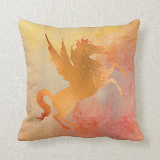 Red Vivid Mustard Rose Gold Horse Painting Throw Pillow
