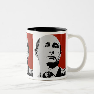 Red Vladimir Putin Two-Tone Coffee Mug