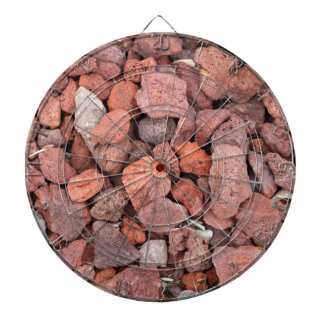 Red Volcanic Rocks Ground Cover Dartboard With Darts