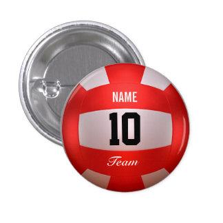 Red Volleyball 1 Inch Round Button