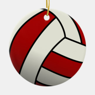 Red Volleyball Ceramic Ornament