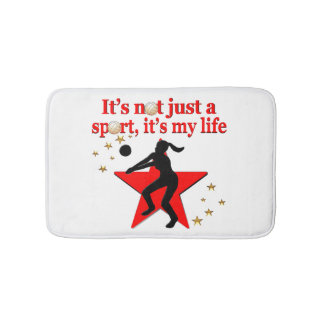RED VOLLEYBALL IS MY LIFE DESIGN BATHROOM MAT