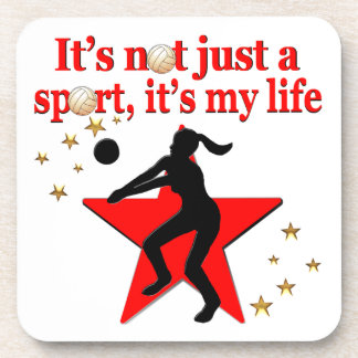 RED VOLLEYBALL IS MY LIFE DESIGN DRINK COASTER