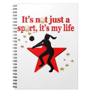 RED VOLLEYBALL IS MY LIFE DESIGN NOTE BOOK