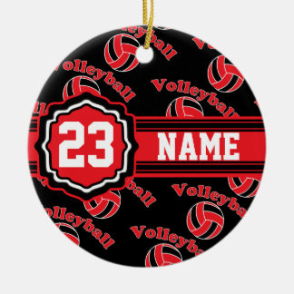 Red Volleyball Round Ceramic Ornament