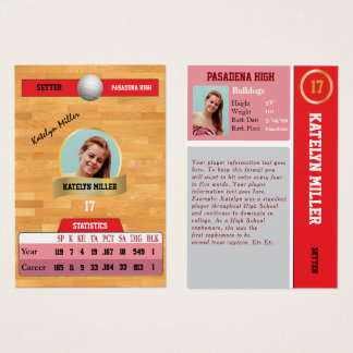 Red Volleyball Sports Trading Card w/ Autograph