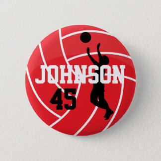 Red Volleyball with Silhouette Player 2 Inch Round Button