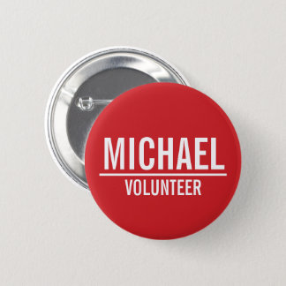 Red Volunteer Badge with Custom Name 2 Inch Round Button