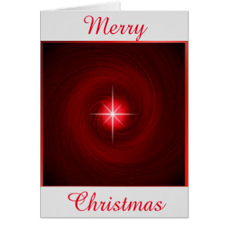 Red Vortex with Star Christmas Greeting Card
