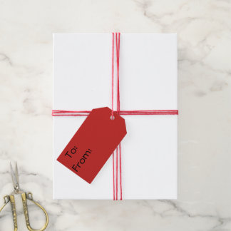 Red Vortex with Stars Merry Christmas Gift Tags