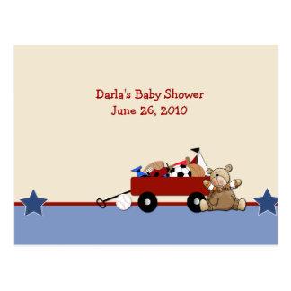 Red Wagon Teddy Bear Baby Shower Advice Cards Postcard