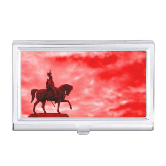 Red War Horse Ancient Roman Soldier Statue Surreal Business Card Case