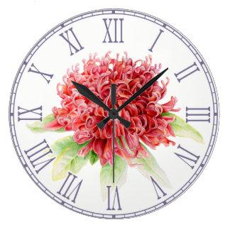Red waratah watercolor floral wall clock
