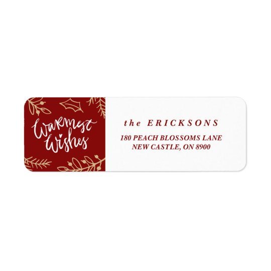 Red Warmest Wishes Calligraphy Holiday Labels