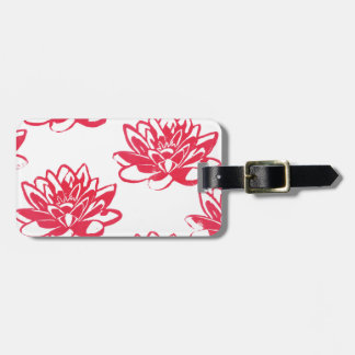 Red water lilies luggage tag