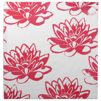 Red water lilies napkin